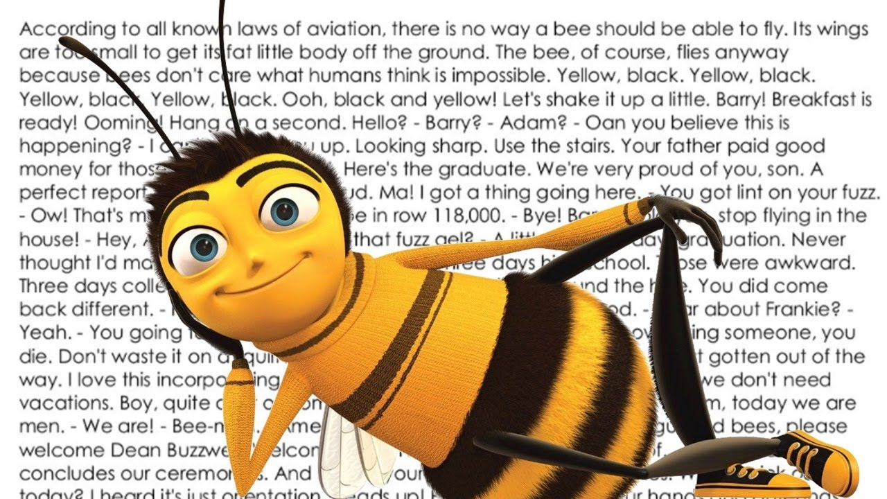 """Typing the entire Bee movie, but for every """"bee"""" I change keyboards"""