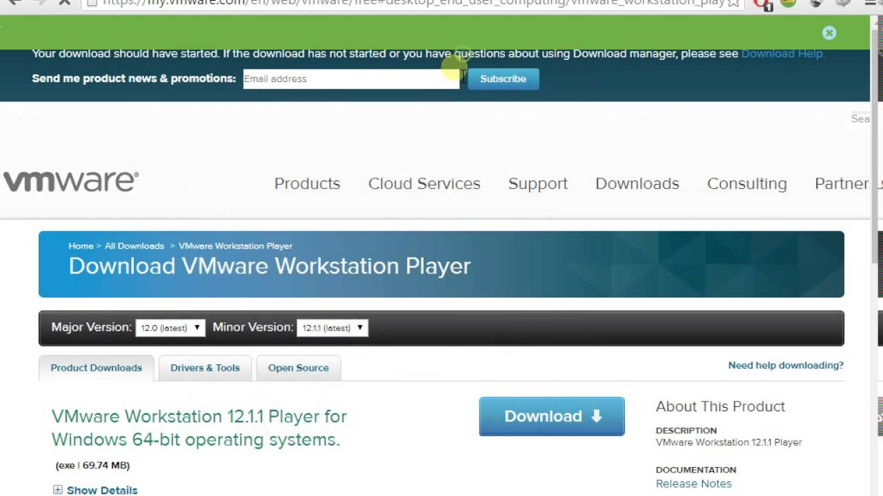 vmplayer workstation 12 download