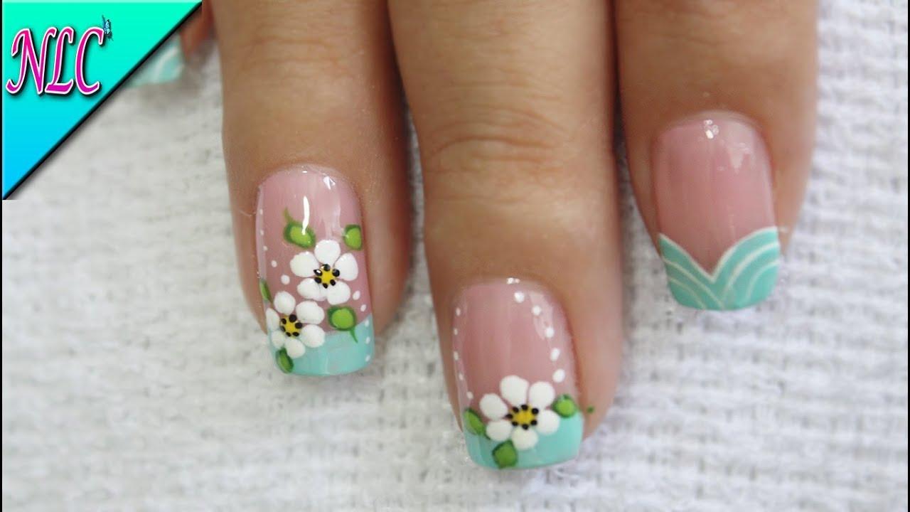 Dise o de u as flores principiantes muy f cil flowers - Modelo de unas pintadas ...