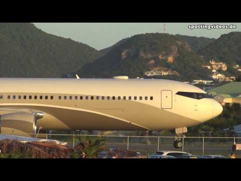 Jet Blast! Private B767 of Mr. Abramovic - Maho Beach, St. Maarten - 2014-01-14