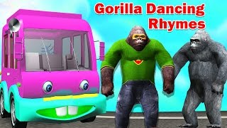 Wheels on the Bus | Green Gorilla Dancing Wheels on the Bus | Gorilla Dancing Rhymes(Hello children watch our Funny gorilla dancing wheels on the bus Nursery rhyme for kids 3D animation. The wheels on the bus go round and round. round and ..., 2016-05-16T08:38:27.000Z)