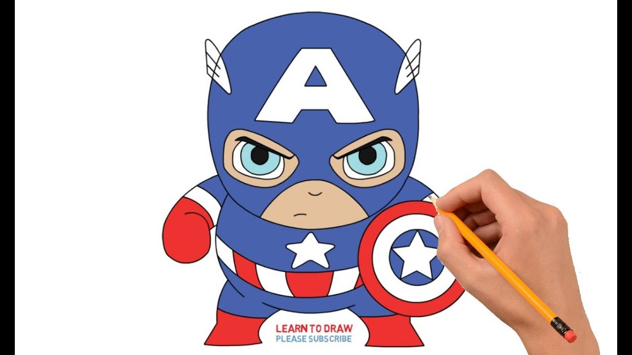 Captain America Cartoon Images: How To Draw Cartoon Mini Captain America Step By Step Easy