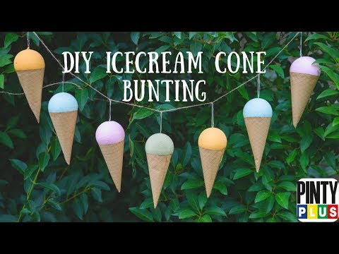 DIY Easy Icecream cone bunting with spray paint