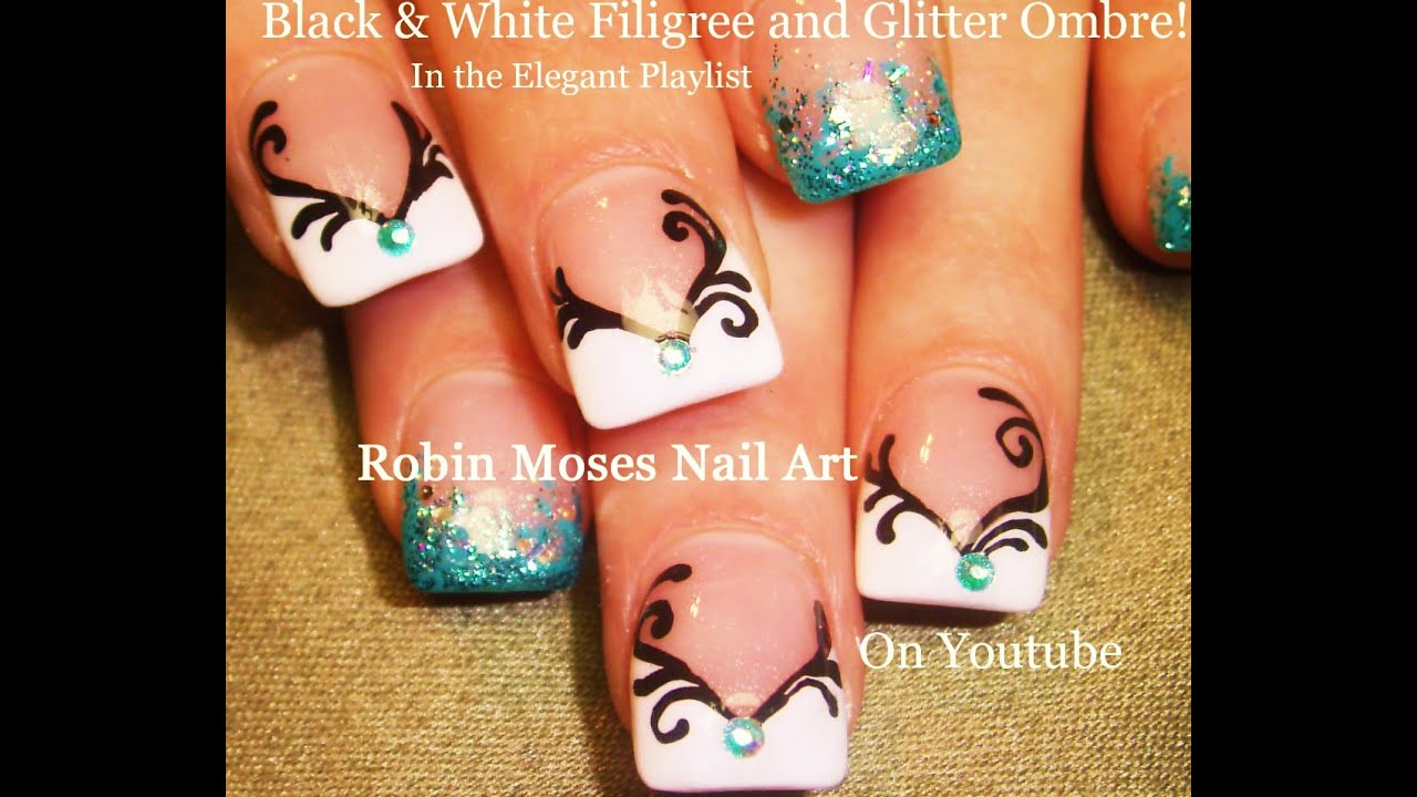 Nail Art Tutorial | DIY Black and White Nails | Easy Blue Ombre Nail ...
