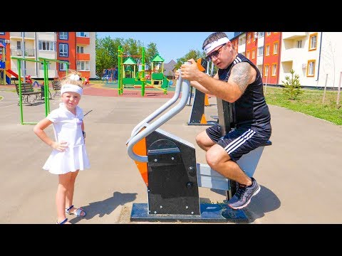 Nastya and Papa playing fun and doing sport