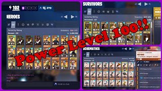 Mon compte Power Level 100!! Héros, schémas et PLUS! Fortnite: Save The World