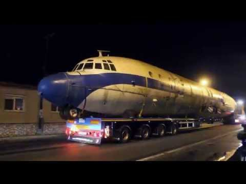 Ex Malév Il-18 is being transported to the Museum of Aviation Košice