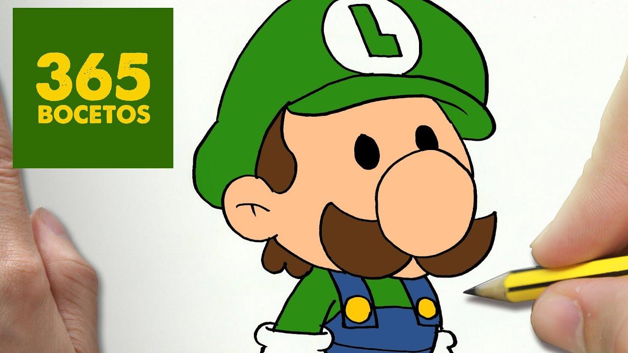 Como Dibujar Luigi Kawaii Paso A Paso Dibujos Kawaii Faciles How To Draw A Luigi