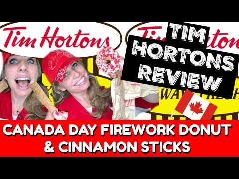 TIM HORTONS REVIEW | CANADA DAY COUNTDOWN | Canada Day Firework Donut & Cinnamon Sticks