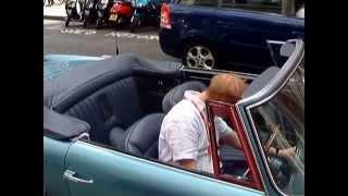 Chris Evans in an Aston Martin outside BBC Radio 2