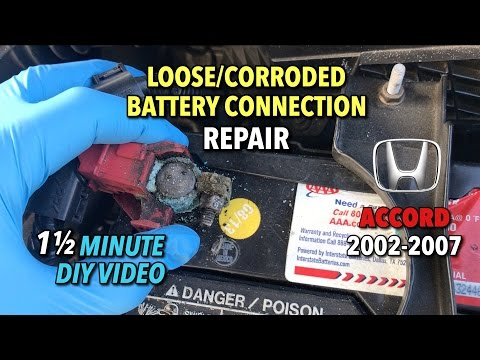 Honda Accord Loose/Corroded Battery Connection Repair 2002-2007 - 1 1/2 MINUTE DIY VIDEO