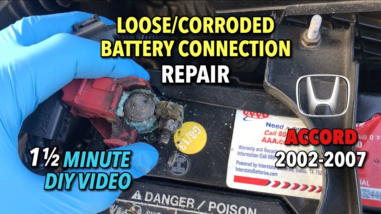 honda accord loose corroded battery connection repair 2002 2007 1 1 2 minute diy video [ 1280 x 720 Pixel ]