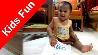 Funny Baby Play with ABC book and try to read || Funny Video