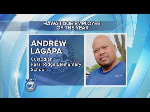 Pearl Ridge Elementary School custodian honored as education employee of the year