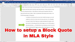 How to setup a Block Quote in MLA Style