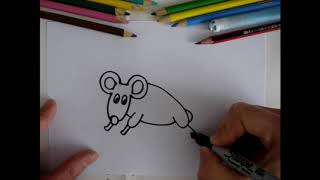 How to draw a mouse step by step |  Como dibujar un ratón paso a paso