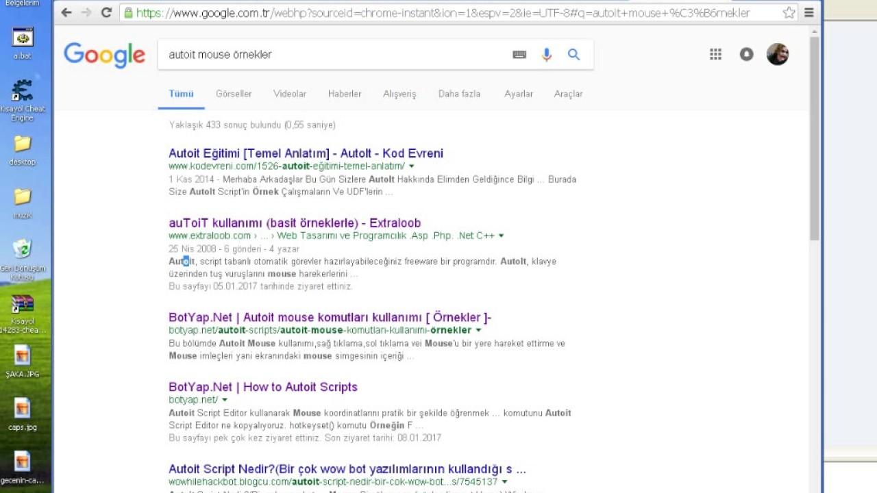 Autoit mouse komutları örnekler
