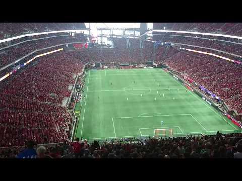 Atlanta United FC vs Orlando City FC. A-T-L Viking Clap-chant, Goal Post shot by Miguel Almirón