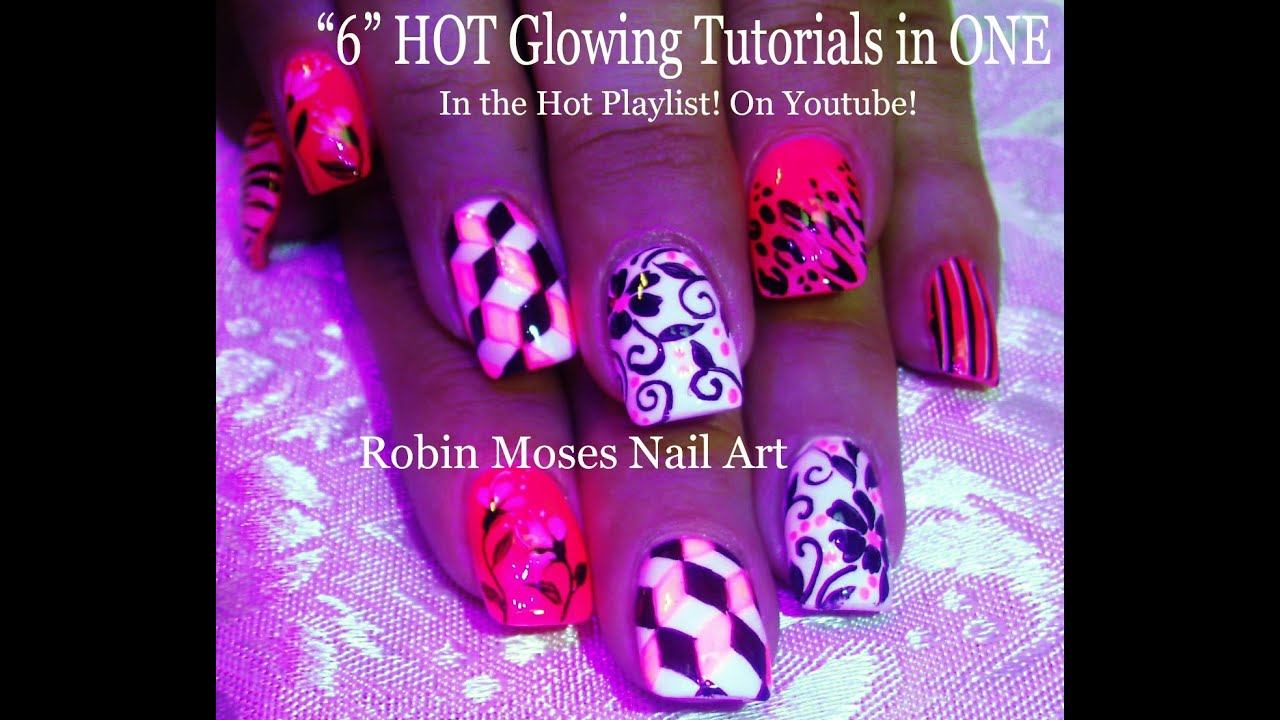 5 GLOWING HOT Nail Art Tutorials | Mix N Match Nails | Neon Pink ...