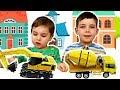 Собираем механический 3D пазл Бетономешалка и Экскаватор Видео для детей