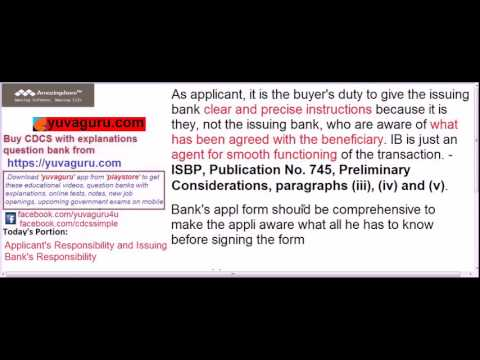 CDCS video lectures Applicant Issuing Bank responsibility by Vishal Mantri +91 9960560404