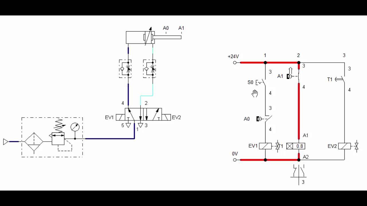 Circuito Neumatico Simple : Circuito vaiven cilindro neumático con temporizador youtube