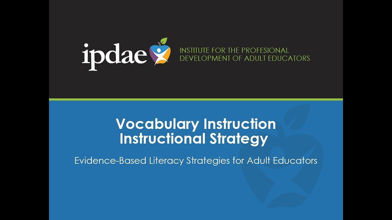Vocabulary Instruction Instructional Strategies Youtube