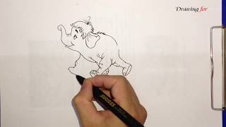 How to draw Colonel Hathi Elephant from The Jungle Book | Colonel Hathi Elephant