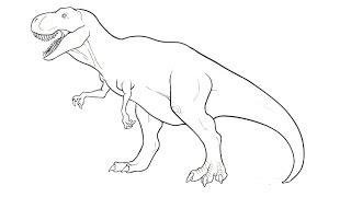 How To Draw A Tyrannosaurus  Как нарисовать тиранозавра