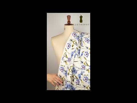 'Alleyn' cornflower blue printed stretch viscose drill fabric