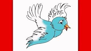 bird draw flying easy step