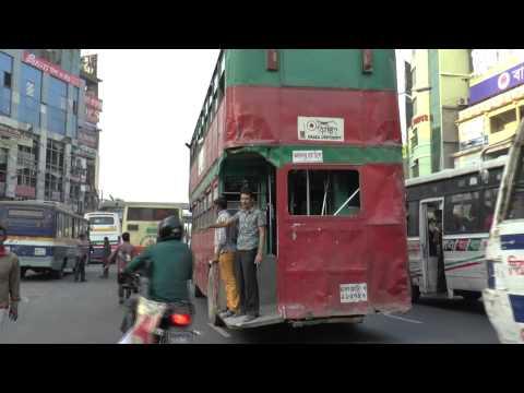 DHAKA BANGLADESH FARMGATE EVENING RUSH HOUR BUSES FEB 2015