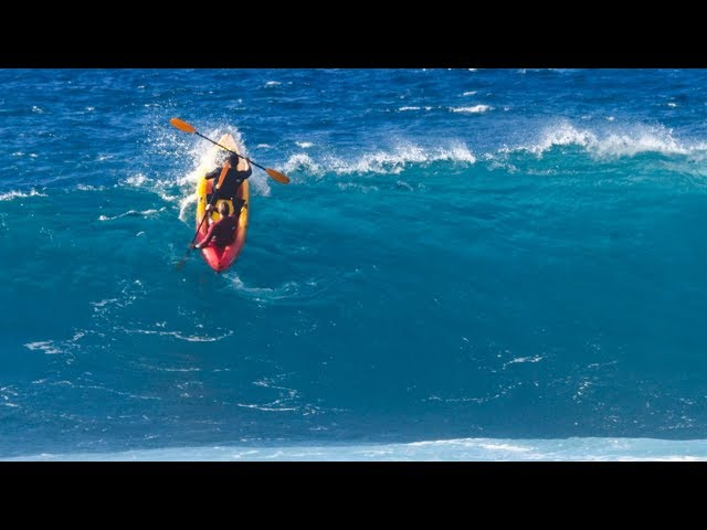 WIPING OUT AT PIPELINE ON A KAYAK