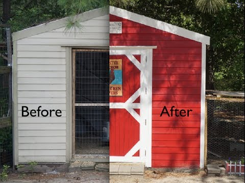 Cute Chicken Coop From Ugly Tool Shed Youtube