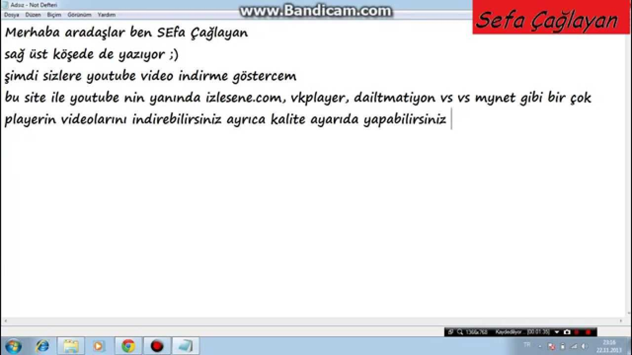 Youtube, Facebook, VK, Mynet Video, izlesene video indirme programsız