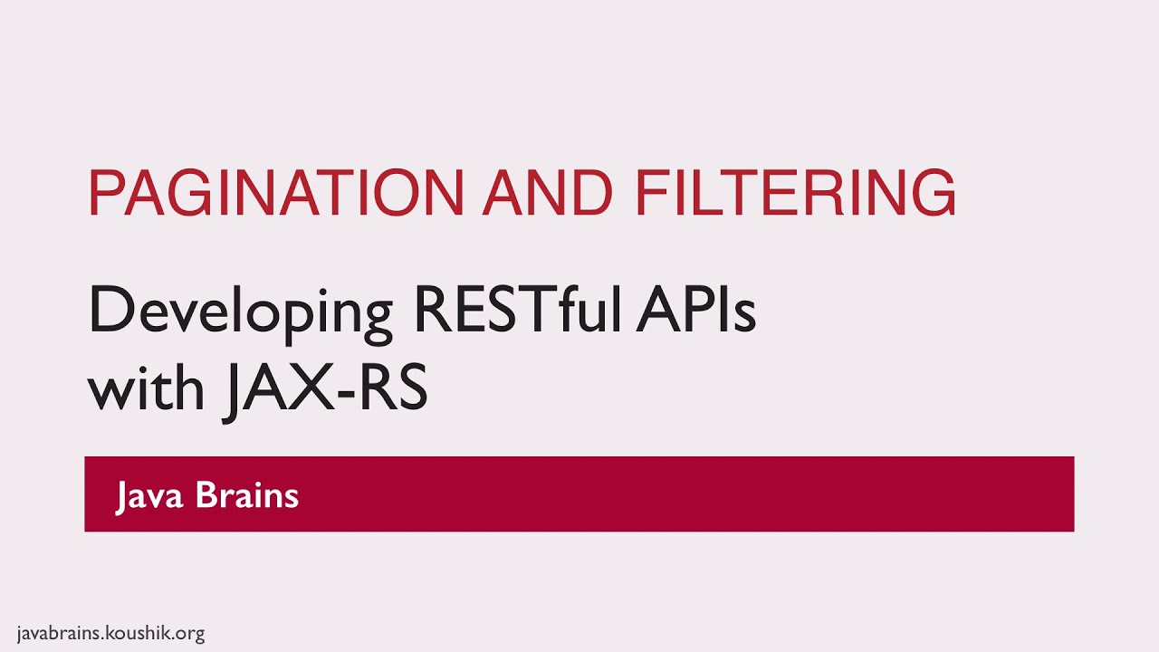 REST Web Services 22 - Pagination and Filtering