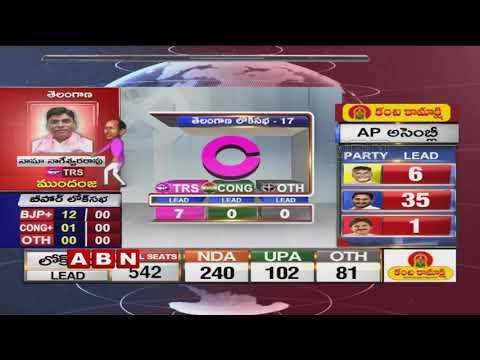 పది చోట్ల వైసీపీ ,మూడు చోట్ల టీడీపీ ఆధిక్యం | AP Elections 2019 | ABN Telugu