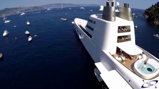 Mega Yacht A SF99 video drone Fly View - Portofino 11-07-2015