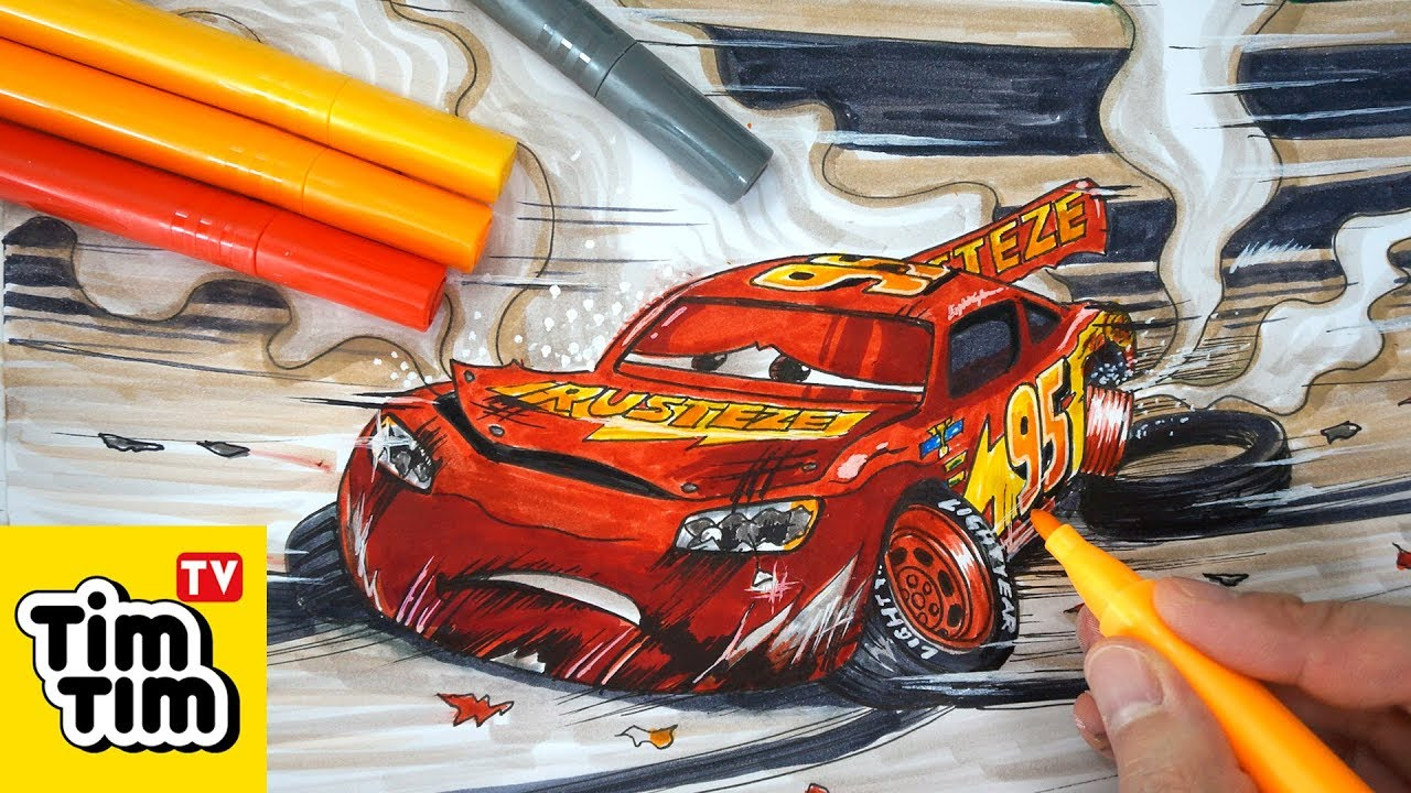 How to draw CARS 3 LIGHTNING McQUEEN crashed badly injured ...