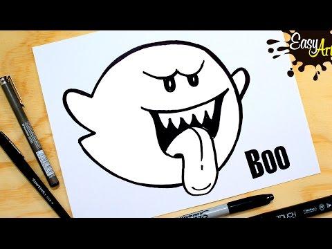 Super Mario Bros Como Dibujar El Fantasma Boo How To Draw A Ghost