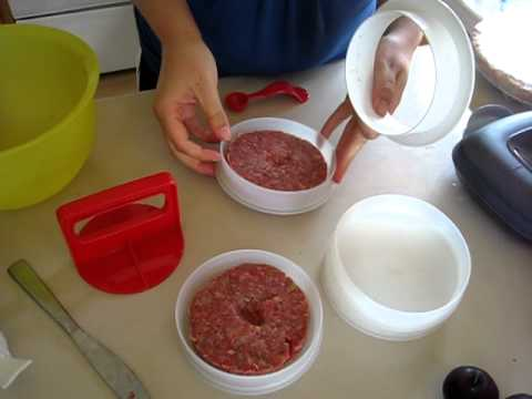 tupperware hamburger press demo