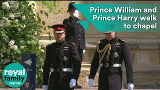 Prince William and Prince Harry walk to St George's Chapel before wedding ceremony