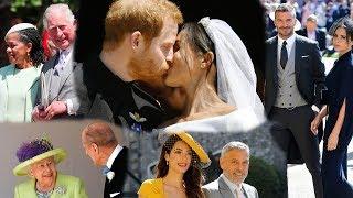 Prince Harry, Meghan Markle, Queen Elizabeth II, and other celebrity guests arrive at Windsor Castle