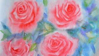 Как нарисовать розы акварелью. 2 простых способа. How to draw roses in watercolor. 2 simple ways.