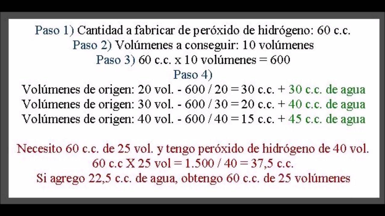 Cómo Conseguir Diferentes Volúmenes De Peróxido De Hidrógeno Youtube