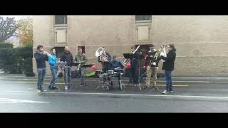 Swiss City Marathon 2017-10-29. Luzern. One of the bands playing for the runners.
