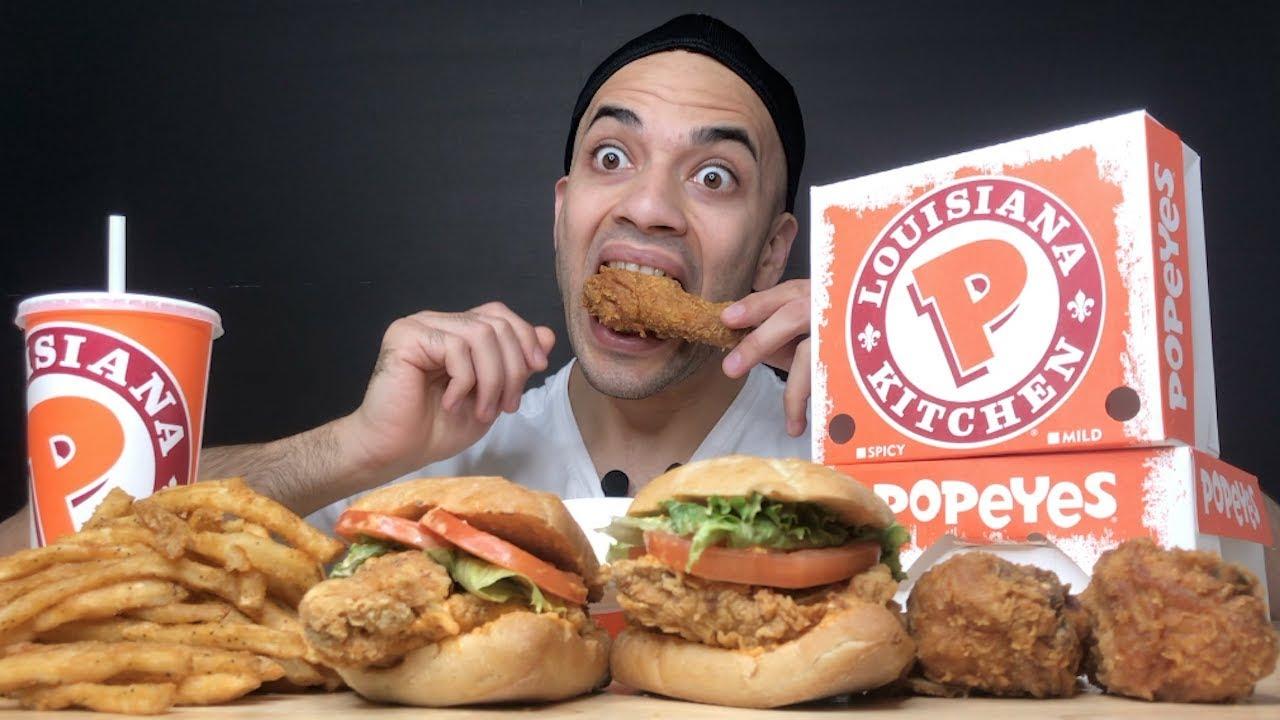 ASMR Popeyes Chicken Cajun Chicken Sandwiches, Drumsticks, Fries, & Coleslaw - CRUNCHY Eating Sounds