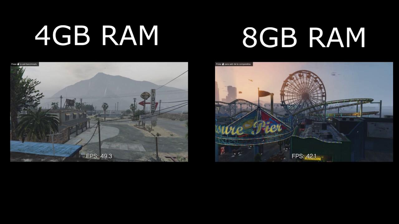 4GB RAM DDR4 VS 8GB RAM DDR4 I Gta V - YouTube