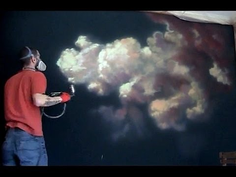 How To Paint A Cloud Airbrush Mural 5hr In 11 Min