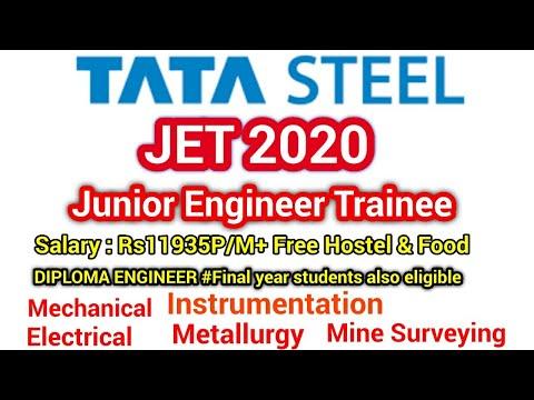 JET 2020➡Junior Engineer Trainee💥Tata Steel Recruitment